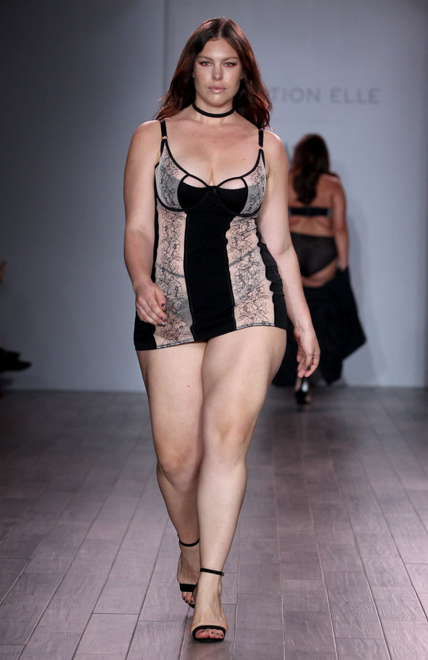 48ce895ef1e49 ... the runway at Addition Elle. NEW YORK, NY – SEPTEMBER 14: A model walks  the runway at Addition Elle Presents Holiday 2016 RTW + Ashley Graham  Lingerie ...