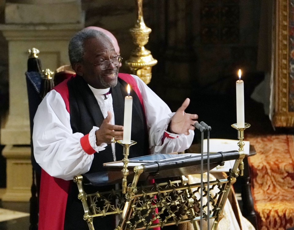 WINDSOR, UNITED KINGDOM - MAY 19: The Most Rev Bishop Michael Curry, primate of the Episcopal Church, gives an address during the wedding of Prince Harry and Meghan Markle in St George's Chapel at Windsor Castle on May 19, 2018 in Windsor, England. (Photo by Owen Humphreys - WPA Pool/Getty Images)